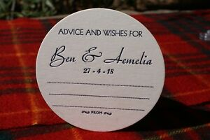 Advice & Wishes Personalized  WEDDING COASTERS, X 100 Round