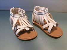 Bebe girls, baby/toddler, white faux leather, ankle fringe sandals. 5/6T