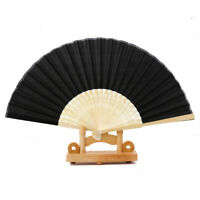 Vintage Black Chinese Folding Bamboo Cloth Hand Held Fan Wedding Dance Gift