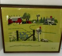 Vtg 1975 Hand Embroidered Crewel Needlepoint Framed Floral Barn House Picture