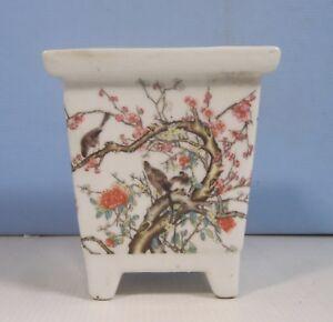 Vintage rare porcelain flower bonsai pot cherry blossoms circa 1950 retired 3