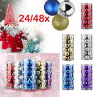 48Pcs Glitter Christmas Balls Baubles Tree Hanging Ornament Christmas Decor Yc