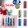 48Pcs Glitter Christmas Balls Baubles Tree Hanging Ornament Christmas Decor Y1