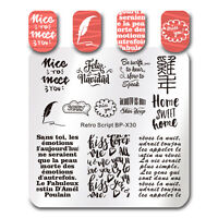 Nagel Stempel Schablone Retro Skript Nail Art Platz Bild Vorlage DIY Born Pretty