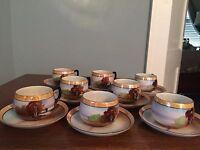 Vintage Chikaramachi Made In Japan Lusterware Tea Cups and Saucers. Handpainted.