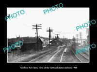 OLD LARGE HISTORIC PHOTO OF GOSHEN NEW YORK, THE RAILROAD DEPOT STATION c1940