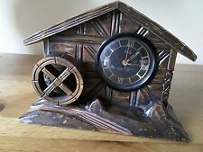 UNUSUAL VINTAGE MEIKO (JAPAN) BLACK FOREST STYLE MUSICAL MANTLE CLOCK.