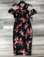 Rachel Roy Black Floral Cold Shoulder Pencil Dress Size S NWT