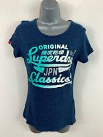WOMENS SUPERDRY PRINT BLUE CASUAL SHORT SLEEVE CREW NECK T SHIRT TOP SIZE SMALL