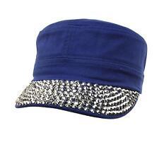 Cute Jewel Rhinestone Bling Bling Visor Cadet GI Castro Cap Hat Adjustable Blue