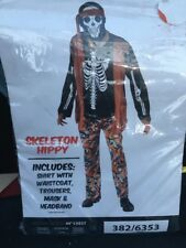 Men's Skeleton Hippy Costume - Fancy Dress Halloween Mens Outfit Adult Dead 60s