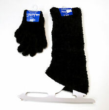 New Figure Skating Fuzzy Leg Warmers & Gloves Set Black One Size Youth