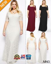 Plus Size Ladies Maxi Lace Bridesmaid Wedding Dress Formal ball gown Party A045