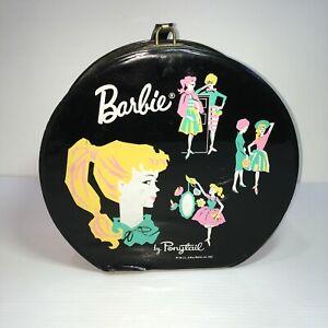 VINTAGE 1962 BARBIE Vinyl Train Doll Carry Case Travel Bag by PONYTAIL  Round