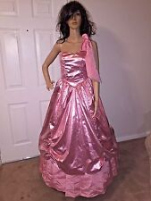 VTG 80'S S PINK METTALIC LAME PARTY PROM DRESS HALLOWEEN SOUTHERN BELLE COSTUME