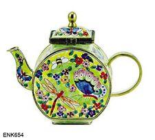 "Insect Garden Teapot Enamel On Copper Miniature Teapot Kelvin Chen - New 3.25"""