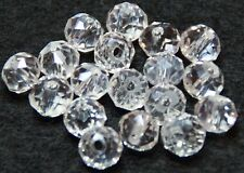 50 CRYSTAL SUNCATCHER GLASS BEADS FACETED DONUT 6 x 4mm CLEAR (BBA002)
