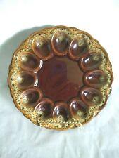 Vintage Pottery Brown Drip Glaze Deviled Egg Serving Plate