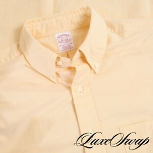 NWT DEADSTOCK #1 MENS Brooks Brothers Made in USA Yellow OCBD Oxford Shirt 15.5