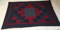 Patchwork Quilt Wall Hanging, Four Patch Squares, Burgundy & Navy Blue, Stars
