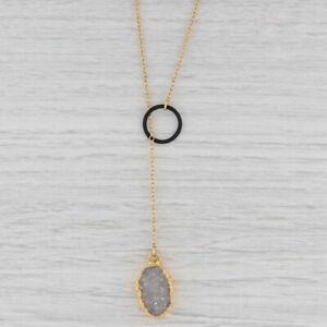 "New Nina Nguyen White Druzy Quartz Lariat Necklace Sterling Gold Vermeil 18-20"""