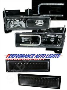 Black Headlights w/ LED C-Bar and Signal Lights for 1988-1999 GM C/K Full Size