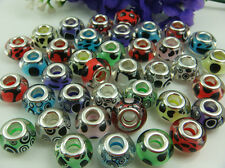 50pcs mix murano DIY Jewelry charm bead LAMPWORK fit European Bracelet beads u2