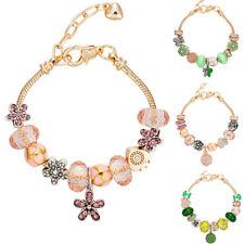 Golden European Diamante Bracelet Charms Flower Pink Green Candy Rhinestone Kids