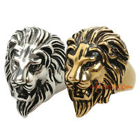 316L Stainless Steel Lion Head Men's Biker Ring Large Rocker Rockstar Jewelry