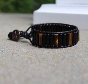 Men's Tiger's Eye & Black Obsidian Beaded  Leather Wrap Bracelet Cuff