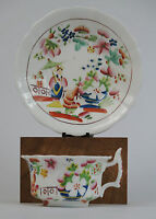 Hilditch blue and white 'Boy picking Fruit' pattern tea cup and saucer c1825