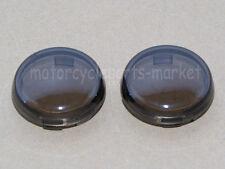 "Motorcycle Set of 2 Smoke Turn Signal Lens Covers Lens 3/8"" For Harley Davidson"