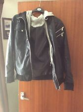 Fake Light Leather Jacket With Cotton Hoodie