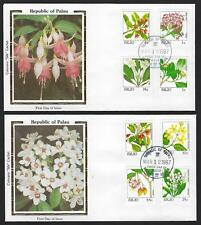 PALAU 1987 FLOWERS OF PALAU ON 7 FDC ALL WITH SILK CACHETS