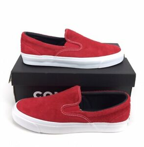 NEW Converse One Star CC Slip On Suede Mens Shoes Sneakers Enamel Red White NIB