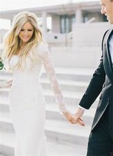 Ivory White Lace Wedding Dresses Bohemian Long Sleeve Sheath Bridal Gown Custom