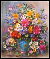 Blue Vase Counted Cross Stitch Patterns Chart Needlework Craft DIY DMC