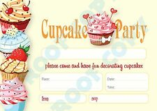 #75 CUPCAKE PARTY Pack of 10 kids children birthday party INVITATIONS