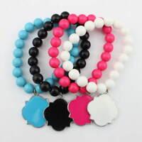 Personalized Blank Enamel Clover Monogram Beaded Bangles Elastic Charm Bracelets