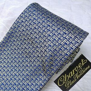 CHARVET Made France 100% Silk Neck Tie Woven Glossy Blue Silver Basket-Weave