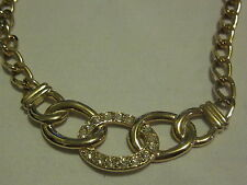 "ORELLE Chunky Goldtone Circle Necklace with Crystal Rhinestones 18"" Long"