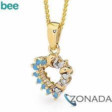 Round Diamond Emerald 9k 9ct Solid Yellow Gold Hearts Pendants 65478/SPAQ
