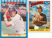 Benito Benny Santiago lot of 2 different 1988 San Diego Padres baseball Cards