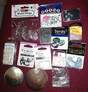 Beads craft jewellery making Dolphins Shells Metal rings job lot Bundle