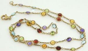 "14K EFFY Multi Semi-Precious Gemstone By The Yard Yellow Gold 18.50"" Necklace"