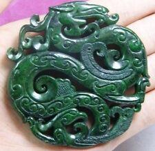 Antique Ancien sculpté à la main chinois oriental Amulette Pendentif Pierre Jade bouddhiste Miao
