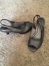 Dressy Gray Heels Lifestride Soft System Size 7M Flex Sparkly Ladies Women Shoes