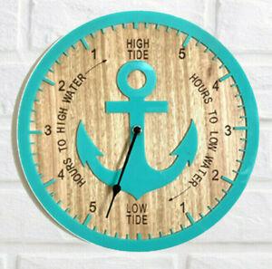 Tide Clock Australian Made Tasmanian Oak Wood Sea Green, Anchor Art Design