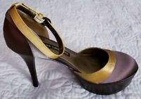 Chinese Laundry 'Even Steven' Satin Pump Heels in Brown and Gold