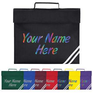 Book Bag Childs Personalised Bag Sparkle Name Rip Strip Closure School Quadra